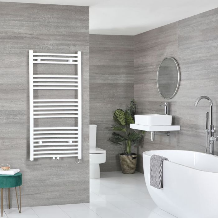 Milano Neva Electric - White Central Connection Heated Towel Rail - Various Sizes