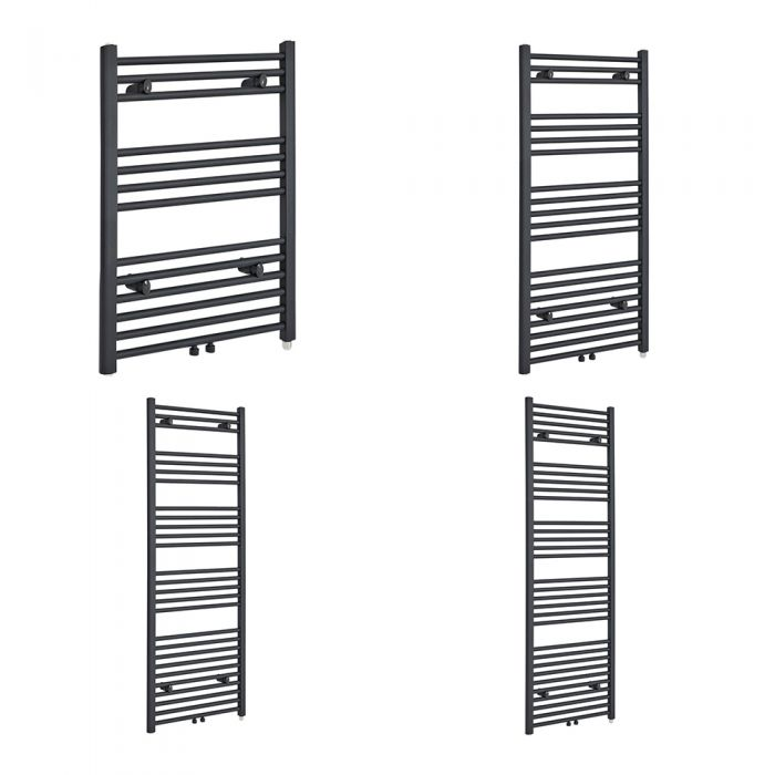 Milano Neva Electric - Anthracite Heated Towel Rail - Various Sizes and Choice of Element