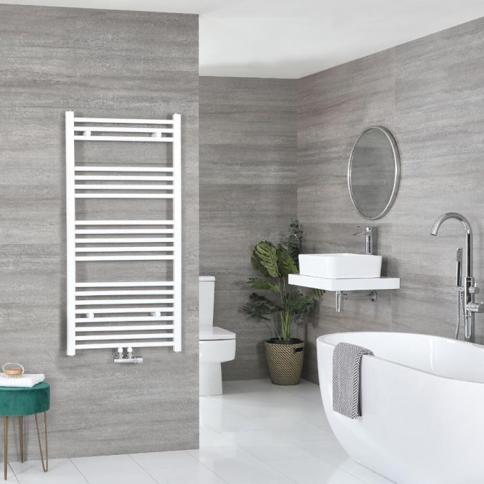 Milano Neva - White Central Connection Heated Towel Rail - Various Sizes