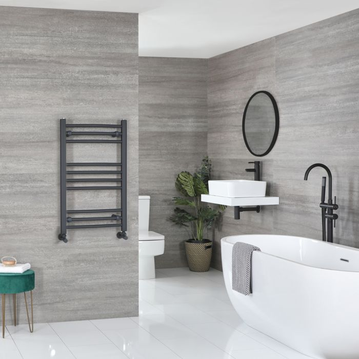 Milano Artle - Curved Anthracite Heated Towel Rail 800mm x 500mm