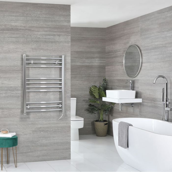Milano Kent Electric - Curved Chrome Heated Towel Rail 800mm x 500mm