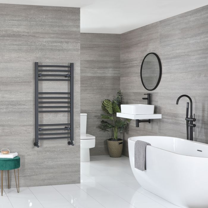 Milano Artle - Curved Anthracite Heated Towel Rail 1000mm x 500mm