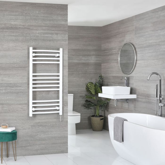Milano Ive Electric - Curved White Heated Towel Rail 1000mm x 500mm