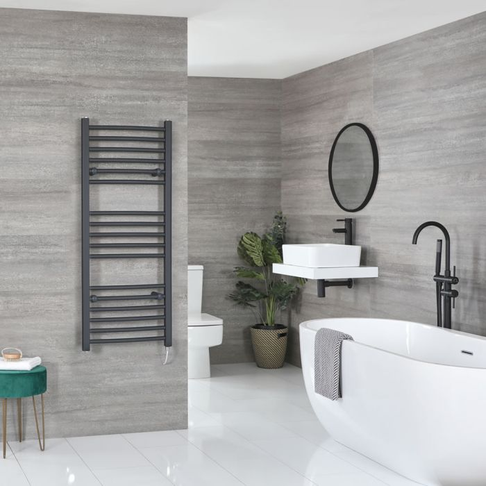Milano Artle Electric - Curved Anthracite Heated Towel Rail 1200mm x 500mm