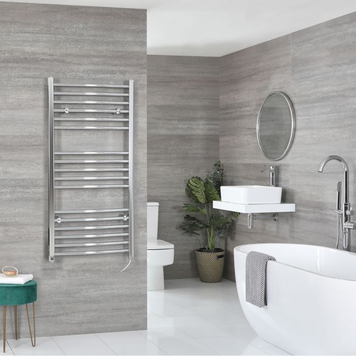 Milano Kent Electric - Curved Chrome Heated Towel Rail 1200mm x 500mm