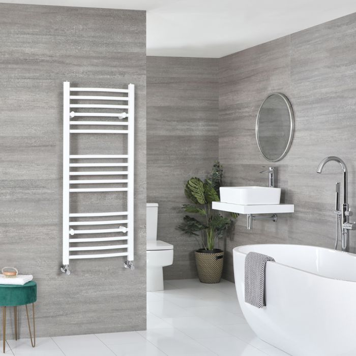 Milano Ive - Curved White Heated Towel Rail 1200mm x 500mm