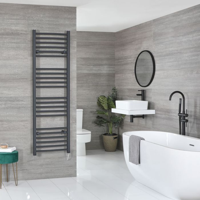 Milano Artle Electric - Curved Anthracite Heated Towel Rail 1600mm x 500mm