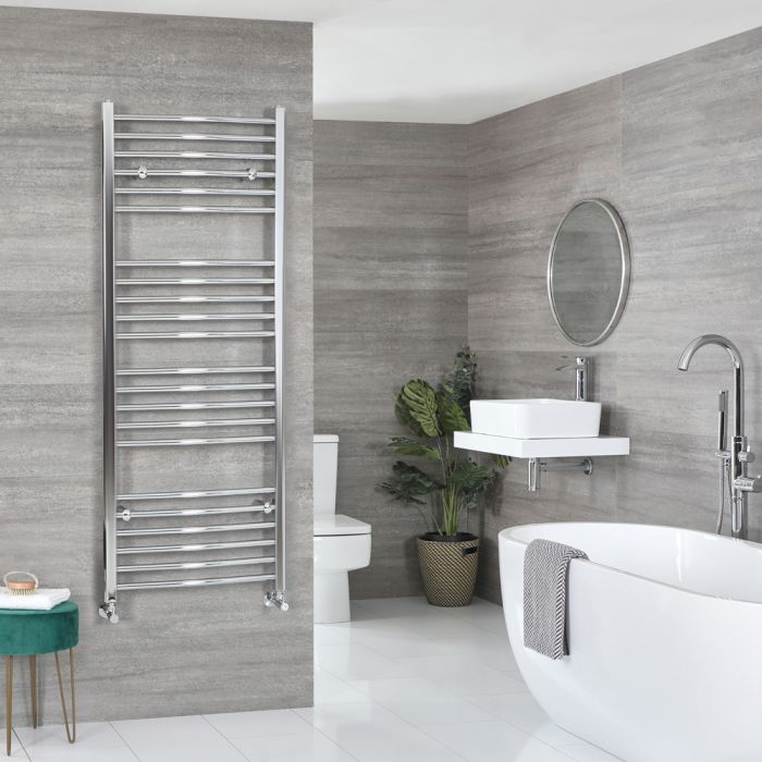 Milano Kent - Curved Chrome Heated Towel Rail 1600mm x 500mm