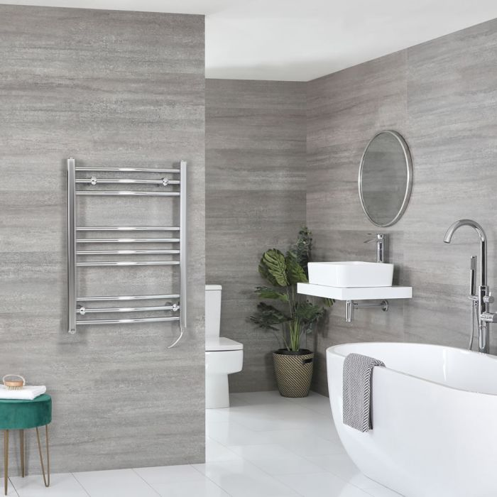 Milano Kent Electric - Curved Chrome Heated Towel Rail 800mm x 600mm