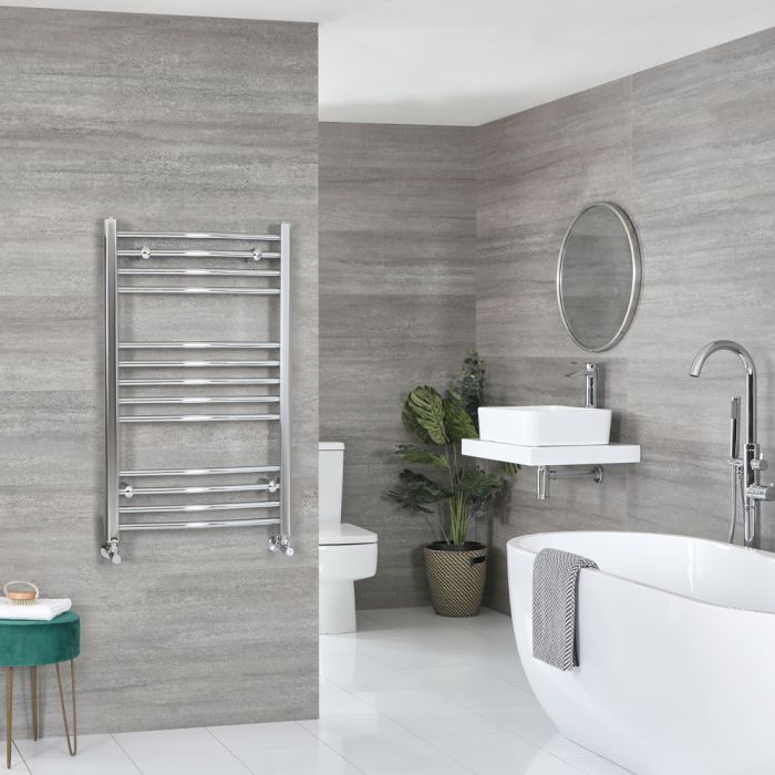 Milano Kent - Curved Chrome Heated Towel Rail 1000mm x 600mm