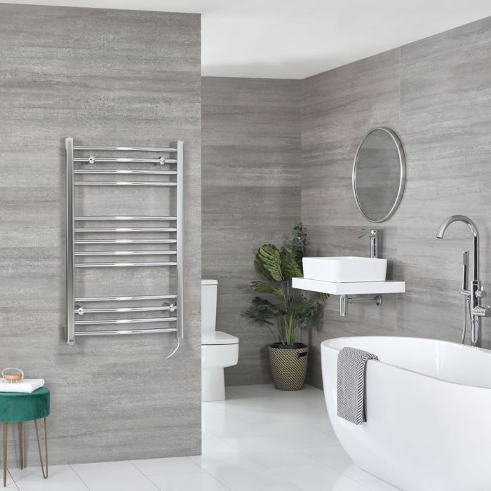 Milano Kent Electric - Curved Chrome Heated Towel Rail 1000mm x 600mm