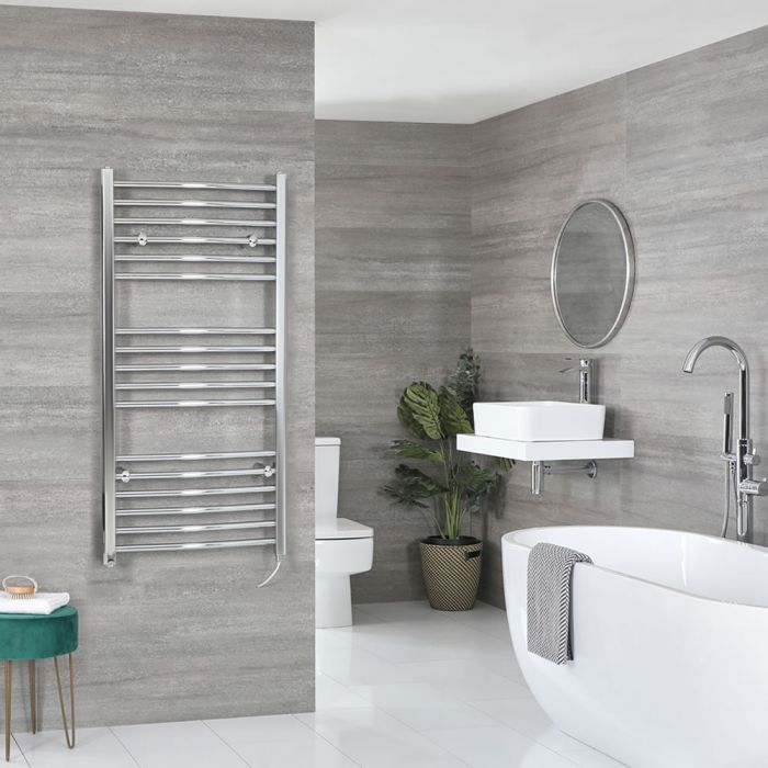 Milano Kent Electric - Curved Chrome Heated Towel Rail 1200mm x 600mm