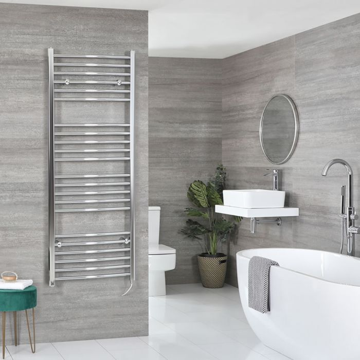 Milano Kent Electric - Curved Chrome Heated Towel Rail 1600mm x 600mm