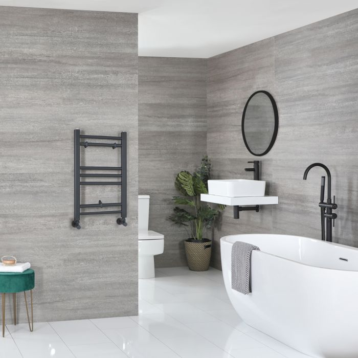 Milano Artle - Flat Anthracite Heated Towel Rail 600mm x 400mm