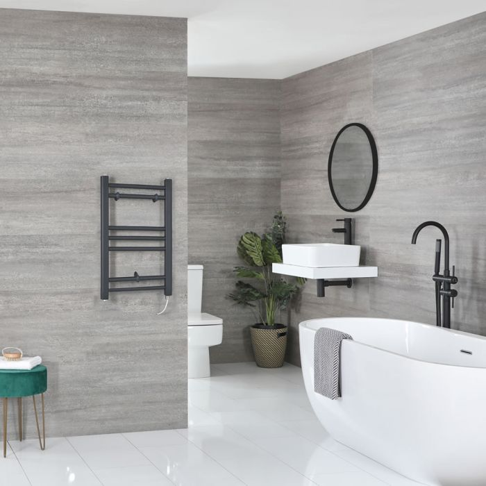 Milano Artle Electric - Flat Anthracite Heated Towel Rail 600mm x 400mm