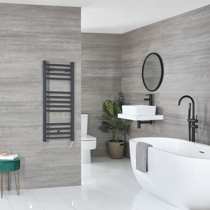 Milano Artle Electric - Flat Anthracite Heated Towel Rail 1000mm x 400mm