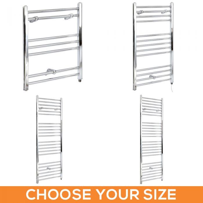 Milano Kent Electric - Flat Chrome Heated Towel Rail - Various Sizes