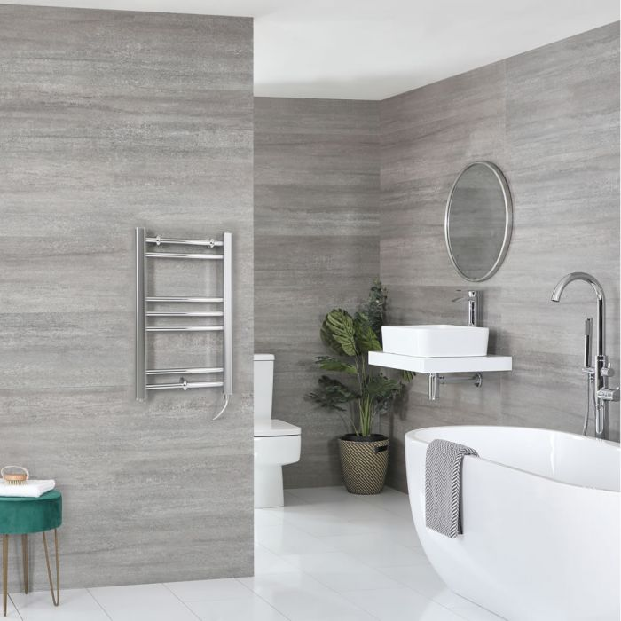 Milano Kent Electric - Flat Chrome Heated Towel Rail 600mm x 400mm