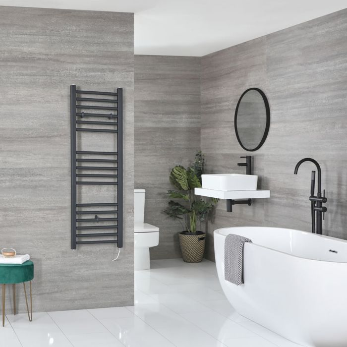 Milano Artle Electric - Flat Anthracite Heated Towel Rail 1200mm x 400mm