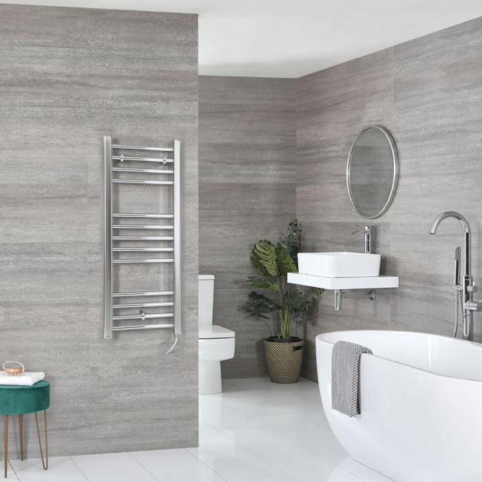 Milano Kent Electric - Flat Chrome Heated Towel Rail 1000mm x 400mm