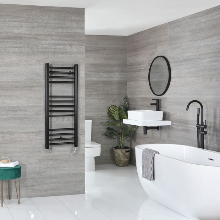 Milano Nero Electric - Flat Matt Black Heated Towel Rail 1000mm x 400mm