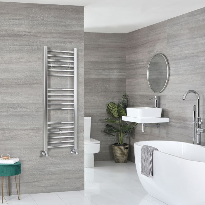 Milano Kent - Flat Chrome Heated Towel Rail 1200mm x 400mm