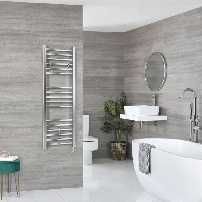 Milano Kent Electric - Flat Chrome Heated Towel Rail 1200mm x 400mm