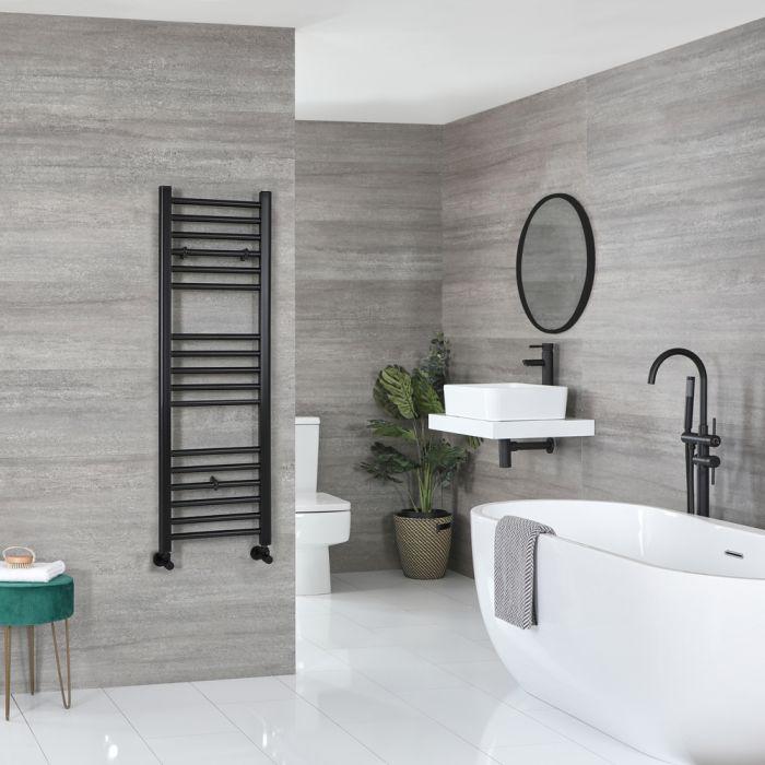 Milano Nero - Flat Matt Black Heated Towel Rail 1200mm x 400mm