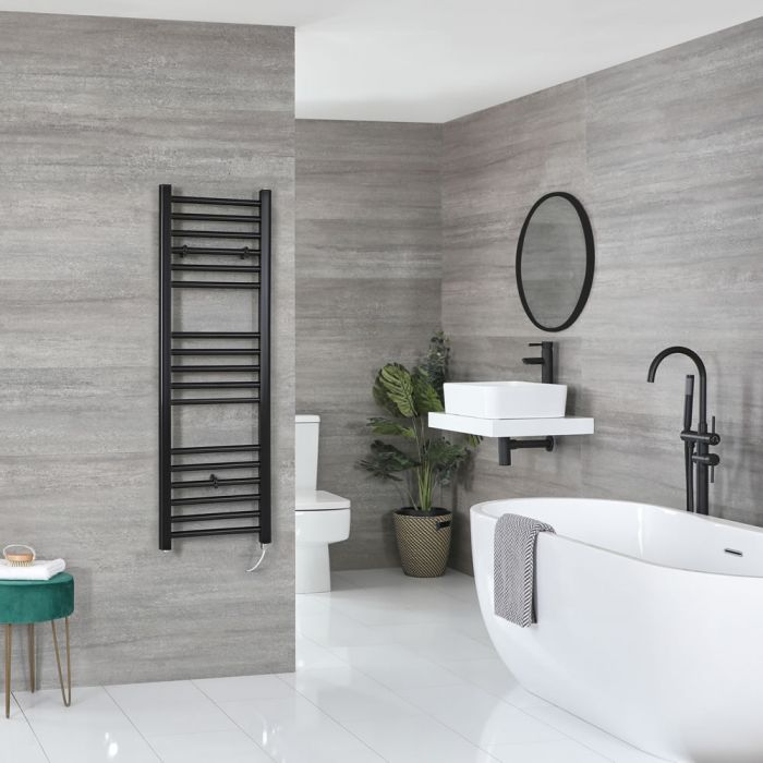 Milano Nero Electric - Flat Matt Black Heated Towel Rail 1200mm x 400mm