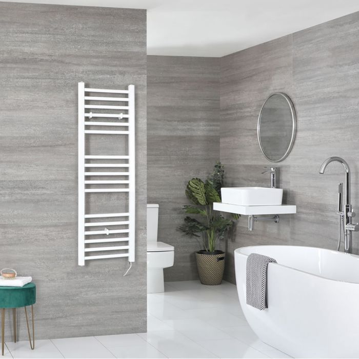 Milano Ive Electric - Flat White Heated Towel Rail 1200mm x 400mm