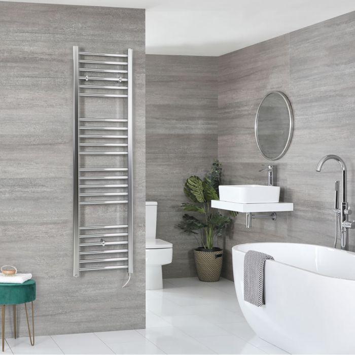 Milano Kent Electric - Flat Chrome Heated Towel Rail 1600mm x 400mm