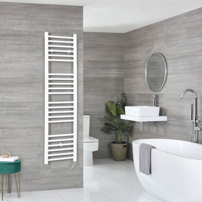 Milano Ive Electric - Flat White Heated Towel Rail 1600mm x 400mm