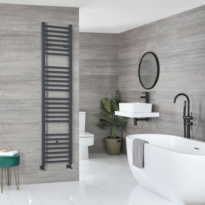 Milano Artle - Flat Anthracite Heated Towel Rail 1800mm x 400mm