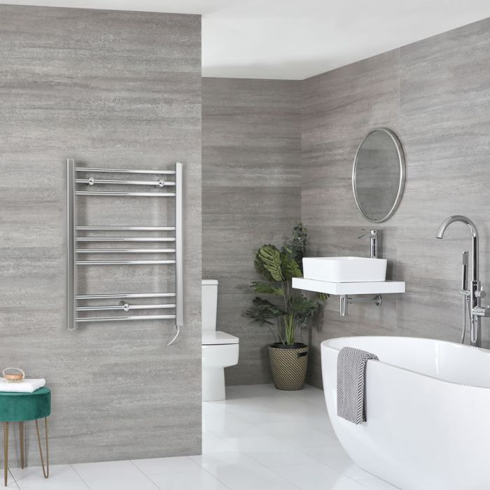 Milano Kent Electric - Flat Chrome Heated Towel Rail 800mm x 500mm