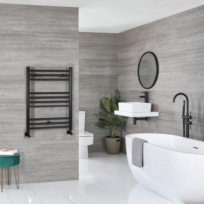 Milano Nero - Flat Matt Black Heated Towel Rail 800mm x 500mm