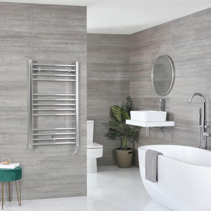 Milano Kent Electric - Flat Chrome Heated Towel Rail 1000mm x 500mm