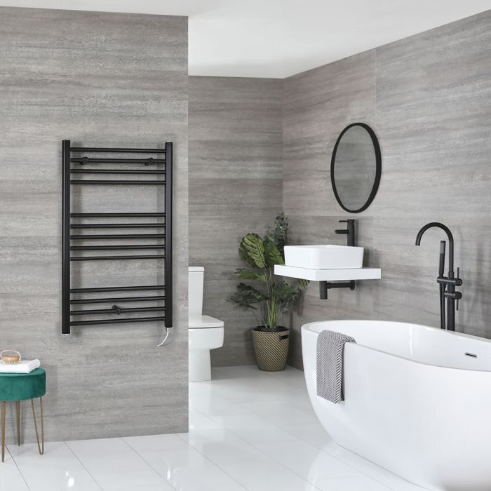 Milano Nero Electric - Flat Matt Black Heated Towel Rail 1000mm x 500mm