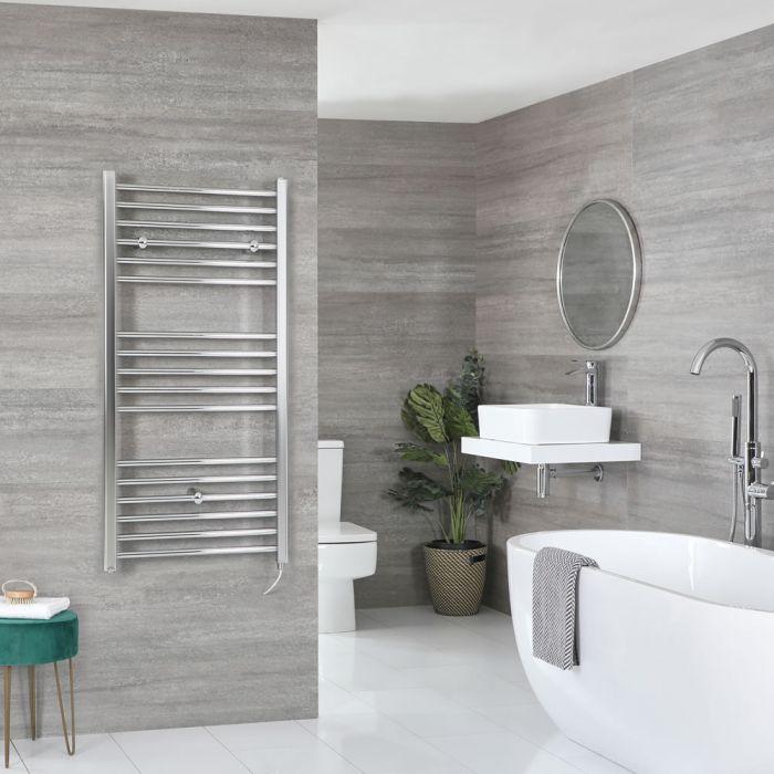 Milano Kent Electric - Flat Chrome Heated Towel Rail 1200mm x 500mm