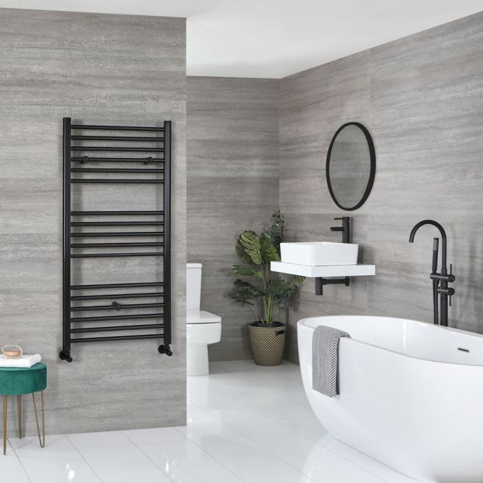 Milano Nero - Flat Matt Black Heated Towel Rail 1200mm x 500mm