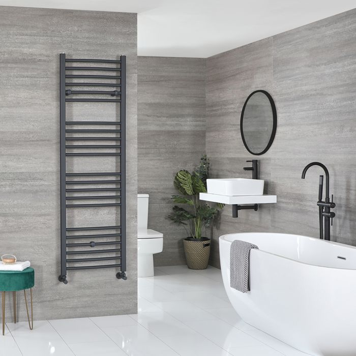 Milano Artle - Flat Anthracite Heated Towel Rail 1600mm x 500mm