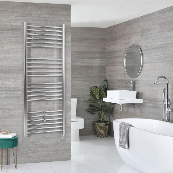 Milano Kent Electric - Flat Chrome Heated Towel Rail 1600mm x 500mm
