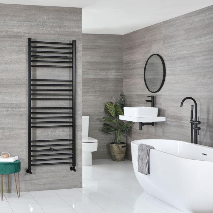Milano Nero - Flat Matt Black Heated Towel Rail 1600mm x 500mm