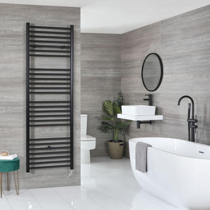 Milano Nero Electric - Flat Matt Black Heated Towel Rail 1800mm x 500mm