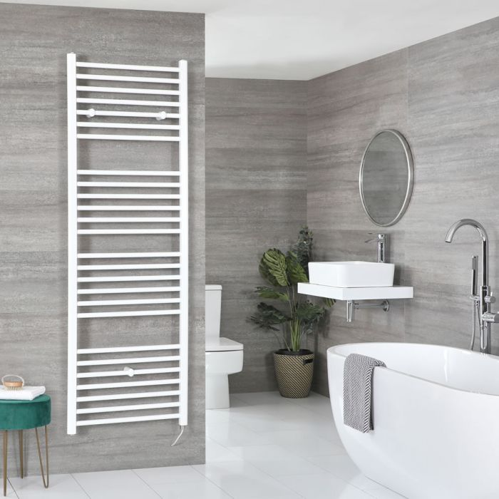 Milano Ive Electric - Curved White Heated Towel Rail - Various Sizes