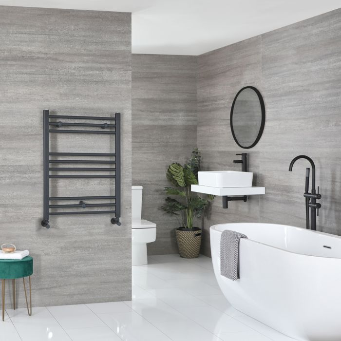 Milano Artle - Flat Anthracite Heated Towel Rail 800mm x 600mm