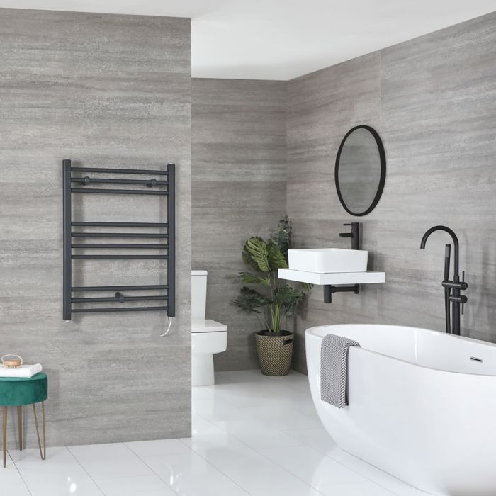 Milano Artle Electric - Flat Anthracite Heated Towel Rail 800mm x 600mm
