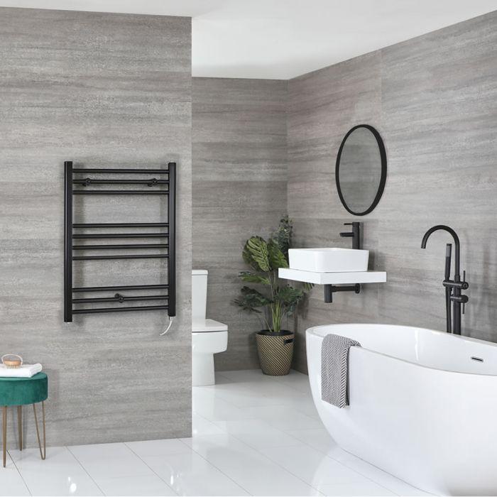 Milano Nero Electric - Flat Matt Black Heated Towel Rail 800mm x 600mm
