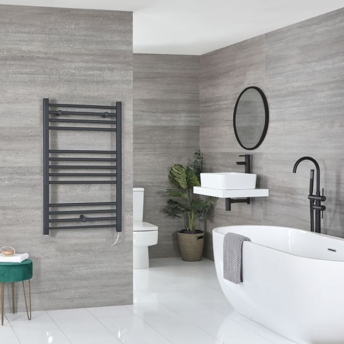 Milano Artle Electric - Flat Anthracite Heated Towel Rail 1000mm x 600mm