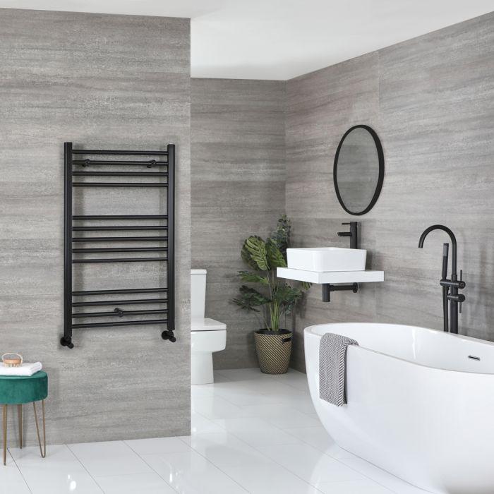 Milano Nero - Flat Matt Black Heated Towel Rail 1000mm x 600mm
