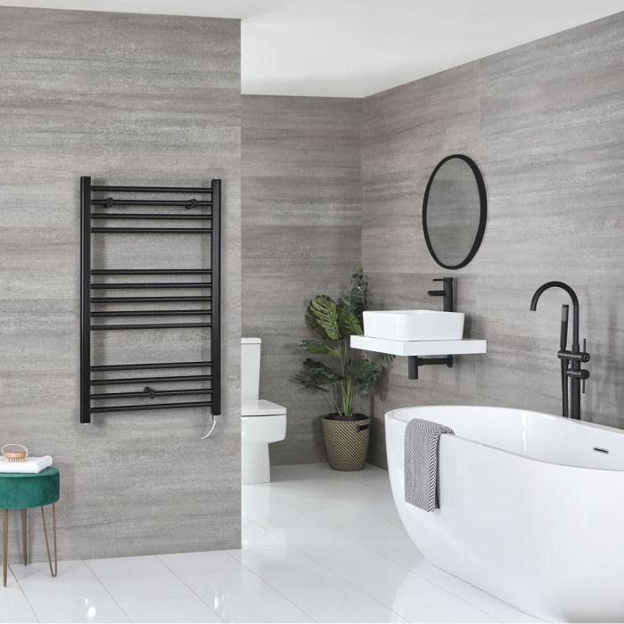Milano Nero Electric - Flat Matt Black Heated Towel Rail 1000mm x 600mm